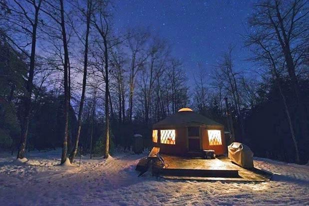 Nightime at the yurt
